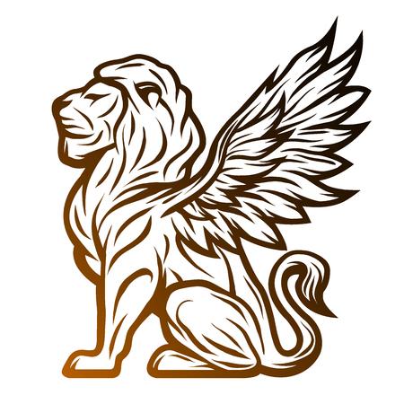 winged lion: león estatua mitológica con alas. Sobre un fondo oscuro.