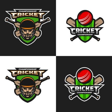 cricket sport: Set of  cricket sports logos, emblem. The dark and light background. Vector illustration. Illustration