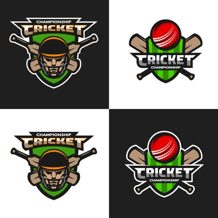 Set of  cricket sports logos, emblem. The dark and light background. Vector illustration. Illustration