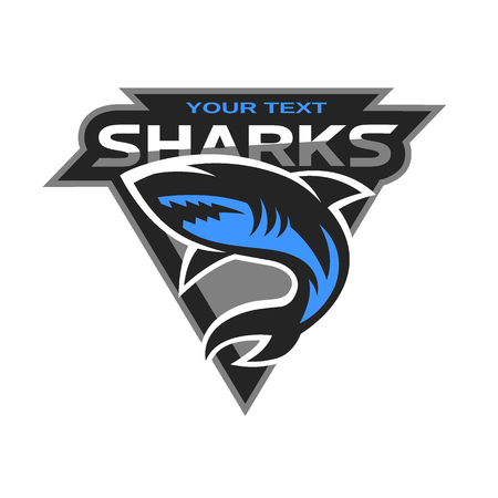 Sharks logo for a sport team. Vector illustration. Çizim