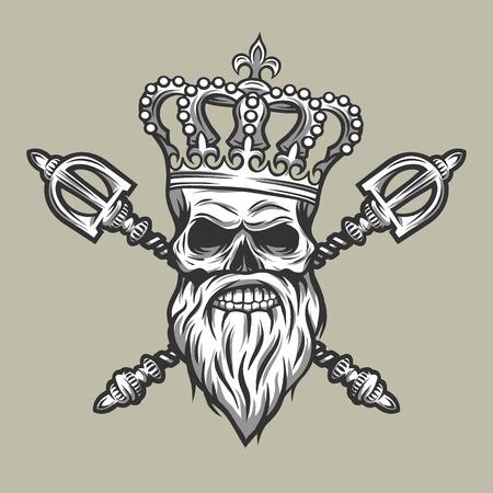 scepter: Skull crown and royal scepter. Line art style.