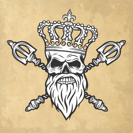 skull character: Skull crown and scepter. Line art style Vector illustration.