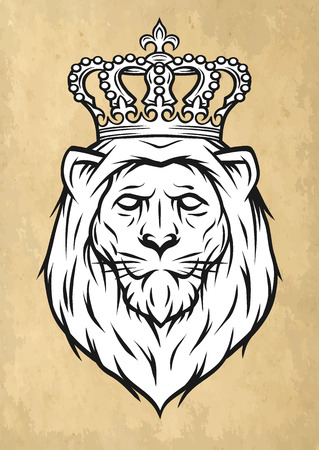 dominate: The head of a lion with a crown. Vector illustration.