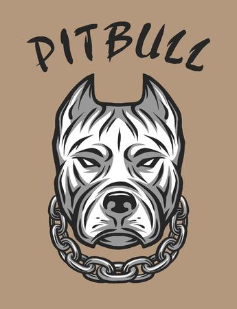 Het hoofd van een pitbull met een ketting. Vector illustratie.