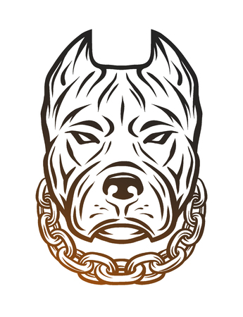 The head of a pit bull with a collar.  Line art style. Illustration