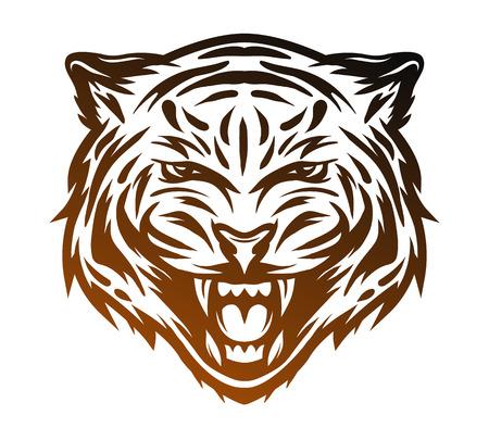 wildcat: Aggressive tiger face. Line art style Vector illustration. Illustration