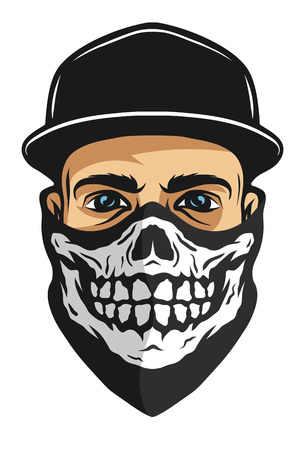 skull design: A guy in a baseball cap, and a bandana with a skull pattern.