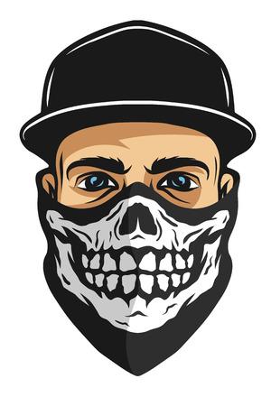Un chico en una gorra de béisbol, y un pañuelo con un modelo del cráneo.
