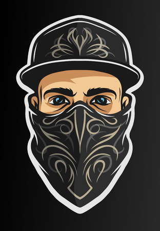 gangsta: A guy in a baseball cap, and a bandana with a pattern. On dark background. Illustration
