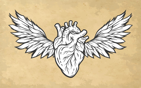 heart sign: Anatomical heart with wings. Tattoo sign symbol Vintage style.