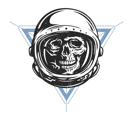 fearful: Lost in space. Dead astronaut in spacesuit and geometric element. Illustration