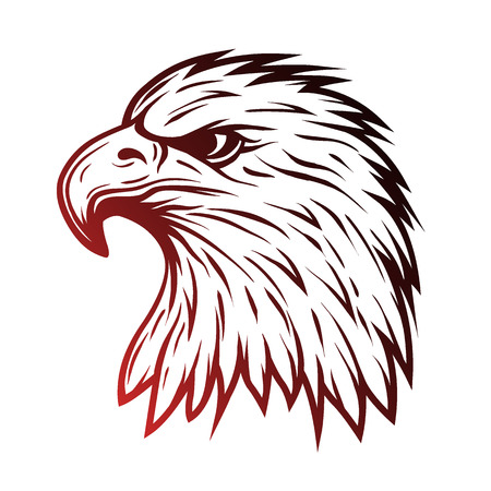 Eagle head in profile.  Line art style. Vector illustration.