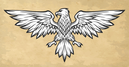 spread wings: Eagle mascot spread wings. Vintage style Vector illustration.