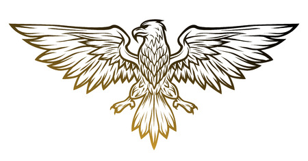 Eagle mascot spread wings. Vector illustration. Line art style.