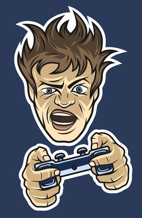 The mad gamer with a joystick in their hands. On dark background.