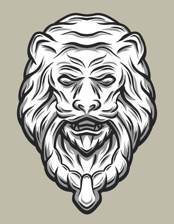 knocker: Llion head door knocker. Line art style. Vector illustration.