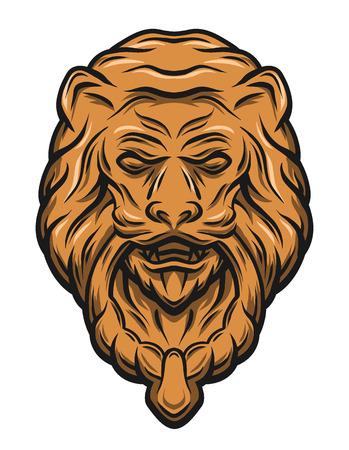 knocker: Golden lion head door knocker. Vector illustration. Illustration