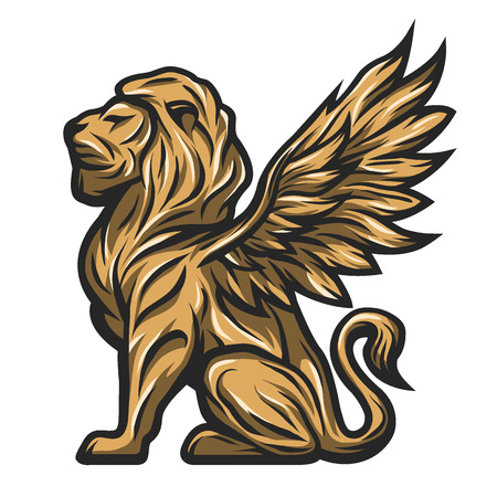 Mythological golden statue of a lion with wings. Vector illustration.