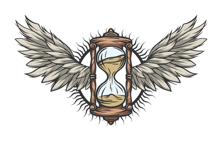 Hourglass and wings Color version Vector illustration.