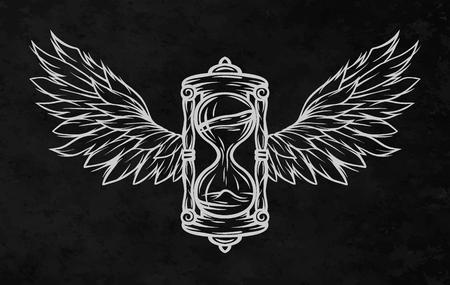 Reloj de arena y alas, para un fondo oscuro. Estilo de línea de arte.