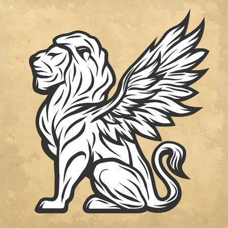 leon con alas: estatua del león con alas. ilustración vectorial de estilo vintage.