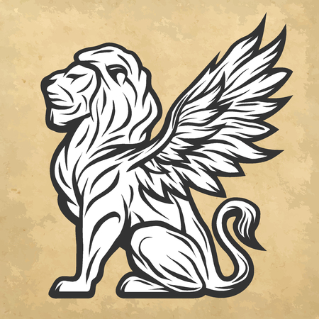 lion with wings: Lion statue with wings. Vintage style Vector illustration. Illustration
