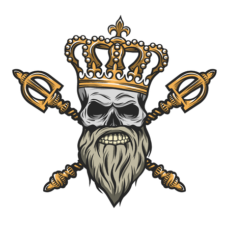 Skull, crown and royal scepter. Color version Vector illustration. Ilustração