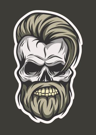 Stylish hipster skull. Line art style. Vector illustration. Line art style.