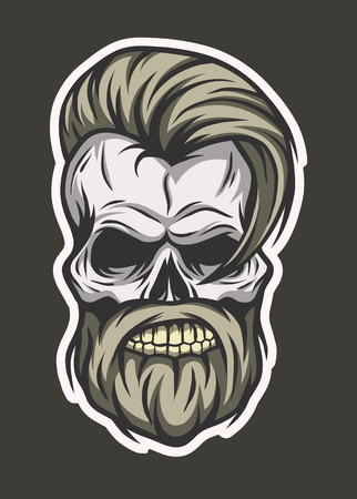 mimicry: Stylish hipster skull. Line art style. Vector illustration. Line art style.