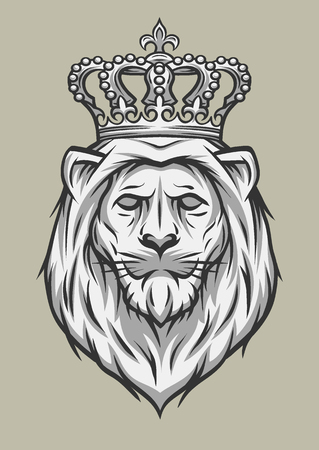 tattoo traditional: The head of a lion with a crown. Vector illustration.
