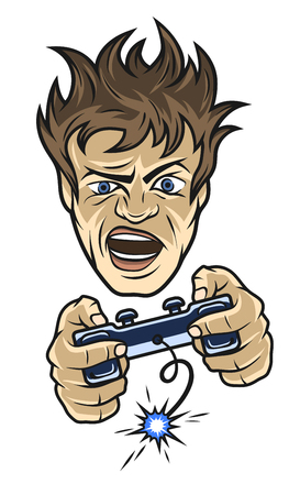 The mad gamer with a joystick in their hands. Vector illustration. Illustration