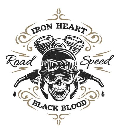 impresiones de la camiseta de la vendimia del cráneo del motorista emblemas Ilustración del vector. Ilustración de vector