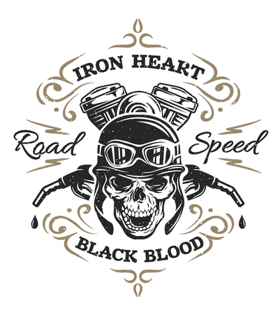 Vintage Biker Skull t-shirt prints emblems Vector illustration.