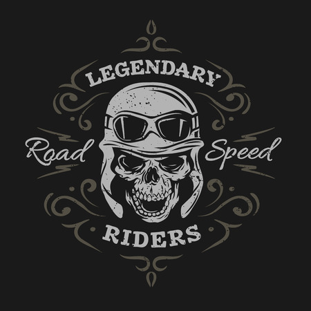 bicycle helmet: Vintage Biker Skull, t-shirt prints, emblems. On a dark background.