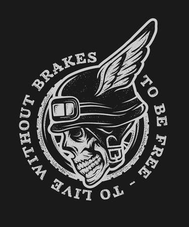 casco de moto: símbolo emblema camiseta gráfica. Para el fondo oscuro.