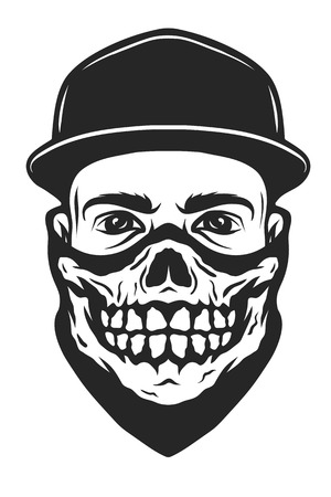 bandana: A guy in a baseball cap and a bandana with a skull pattern.
