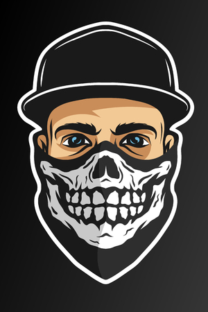 A guy in a baseball cap, and a bandana with a skull pattern. On dark background. Illustration