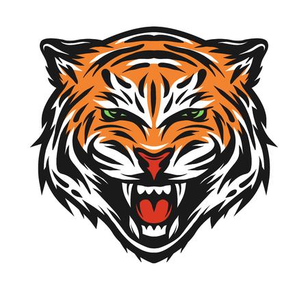 Aggressive tiger face Sign symbol. Vector illustration Ilustração