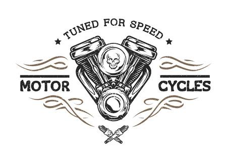 Custom motor in vintage style. Emblem symbol t-shirt graphic.