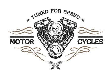 Custom motor in vintage style. Emblem symbol t-shirt graphic. Illustration
