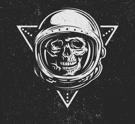 death: Lost in space. Dead astronaut in spacesuit and geometric element. Illustration