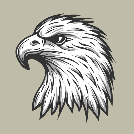 falcon: Eagle head in profile Line style. Vector illustration.