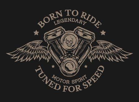 Motorcycle engine and wings. Emblem t-shirt graphic. Ilustração