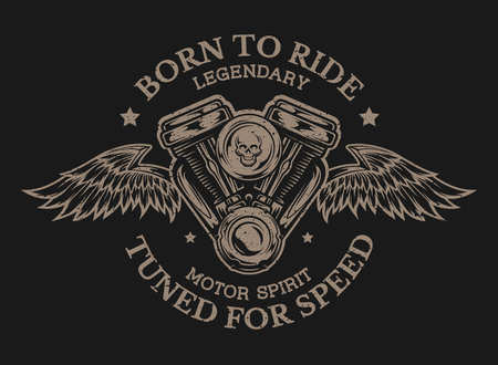 custom: Motorcycle engine and wings. Emblem t-shirt graphic. Illustration
