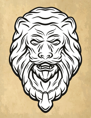 knocker: Lion head door knocker Vintage style. Vector illustration.
