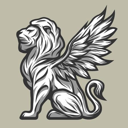 winged lion: estatua de león con alas estilo de línea. Ilustración del vector.