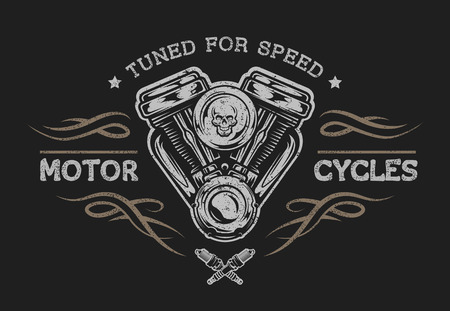 motors: Motorcycle engine in vintage style. Emblem, symbol, t-shirt graphic. For dark background.