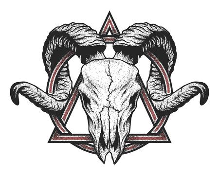 tete de mort: crâne Ram avec un symbole géométrique. le style Dotwork. Illustration