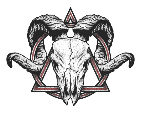 Ram skull with a geometric symbol. Dotwork style.