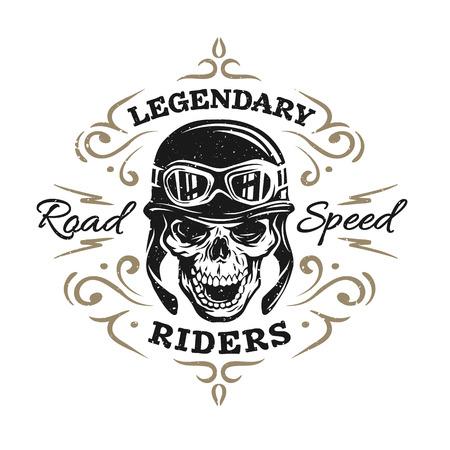Biker Skull koszulka drukuje emblematy. Zabytkowy styl.